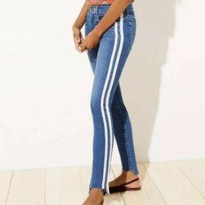 NWT LOFT Modern Side Stripe Slim Skinny Jeans 12